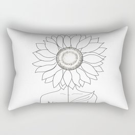 Minimalistic Line Art of Woman with Sunflower Rectangular Pillow
