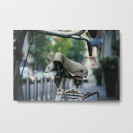 Old white bicycle in a little alley in the center of Milan Metal Print