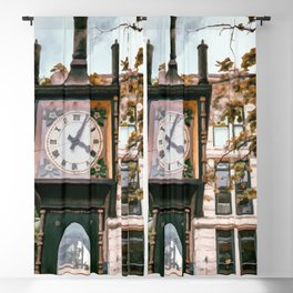 Realistic Painting of the Gastown Steam Clock in Vancouver, BC Blackout Curtain