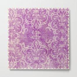 Antique rustic purple damask fabric Metal Print