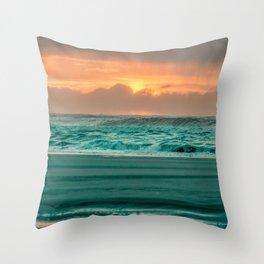 Turquoise Ocean Pink Sunset Throw Pillow