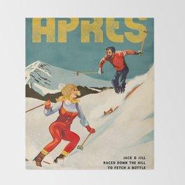 Apres Vintage Ski Pinup Throw Blanket