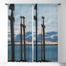 Three Swords - Stavanger Norway / Oil Painting Blackout Curtain