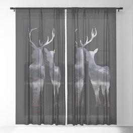 Forest deer family black pattern Sheer Curtain