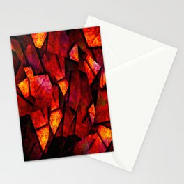Fragments Of Fire - Abstract, geometric, fragmented pattern Stationery Cards