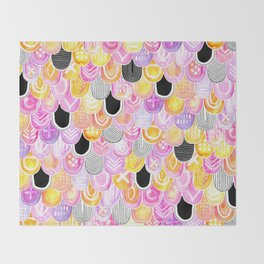 Citrus, Cotton Candy & Licorice Watercolor Scales Throw Blanket