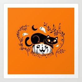 Spooky Cat - Mid Century Vintage Orange Art Print