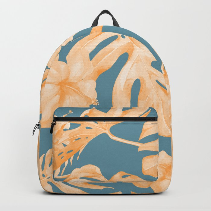 Island Hibiscus Palm Coral Teal Blue Backpack