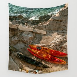 red kayak Wall Tapestry