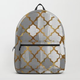 Moroccan Tile Pattern In Grey And Gold Backpack