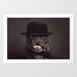 Dog with tobacco pipe 2 Art Print