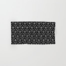 Hand Drawn Hypercube Black Hand & Bath Towel