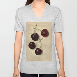 Vintage Illustration of Black Cherries Unisex V-Neck
