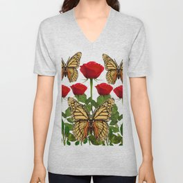 RED ROSES  & MONARCH BUTTERFLIES ART Unisex V-Neck