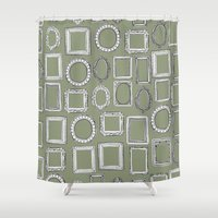 frames Shower Curtains featuring picture frames herb by Sharon Turner
