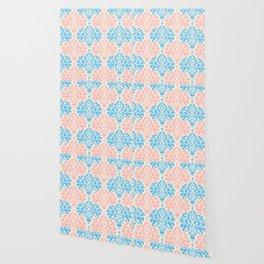 Pastel blue pink vintage floral damask pattern Wallpaper
