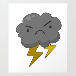 Angry Cloud with Lightning Thunderstorm Art Print