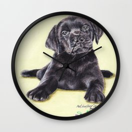 Original Pet Animals Artwork (non-profit) - Labrador Puppy Dog Pastel Wall Clock