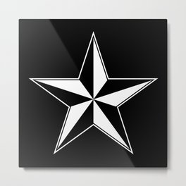 Nautical Star (Black and white) Metal Print