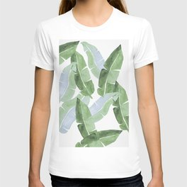 Tropical Leaves 2 Blue And Green T-shirt