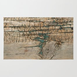 Rustic Wood Ages Gracefully - Beautiful Weathered Wooden Plank - knotty wood turquoise paint Rug