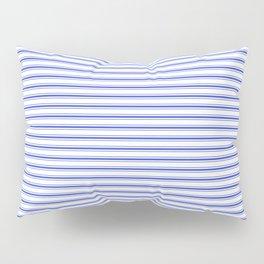 Small Horizontal Cobalt Blue and White French Mattress Ticking Stripes Pillow Sham