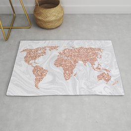 Rose Gold Glitter World Map on White Marble Rug