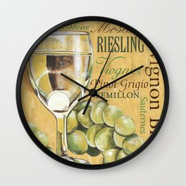 White Wine Text Wall Clock