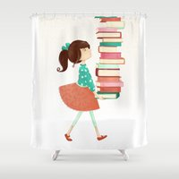 library Shower Curtains featuring Library Girl by Stephanie Fizer Coleman