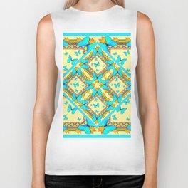 Western Style Turquoise Butterflies Creamy Gold Patterns Art Biker Tank