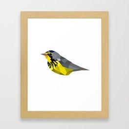 Bird art canada warbler Yellow gray Framed Art Print