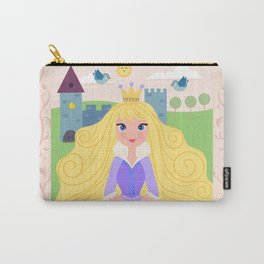 Fairy Tale Princess With Her Story Book Castle - Purple Dress Carry-All Pouch
