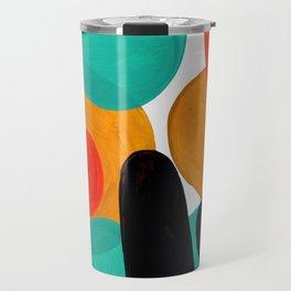 Mid Century Modern Abstract Minimalist Retro Vintage Style Rolie Polie Olie Bubbles Teal Orange Travel Mug