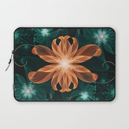 Alluring Turquoise and Orange Tiger Lily Flower Laptop Sleeve