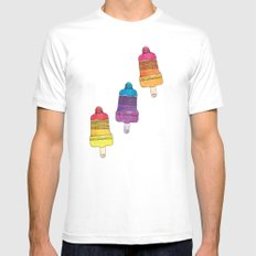 Summer aztec popsicle watercolor illustration pattern MEDIUM White Mens Fitted Tee
