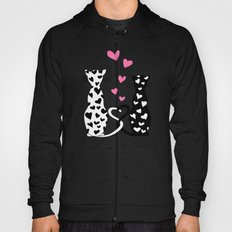 Black&white cats with hearts Hoody