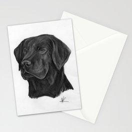 black Labrador retriever dog original art print Stationery Cards