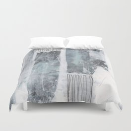Neutral Stripes Dark - Grey and White Abstract Painting Duvet Cover
