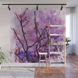 Dark Branches With Red Buds Watercolor Wall Mural
