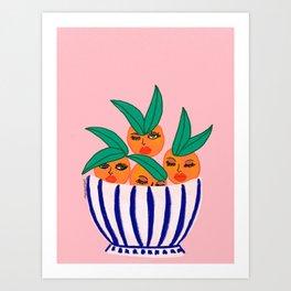 Sassy Oranges In A Bowl Art Print