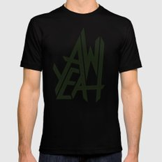 AW YEAH SMALL Black Mens Fitted Tee