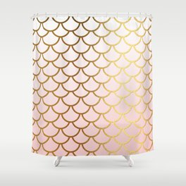 Pink Gradient And Gold Foil MermaidScales - Mermaid Scales Shower Curtain