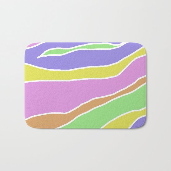 Pastel Current - Pink, blue, yellow and green pastel abstract painting Bath Mat