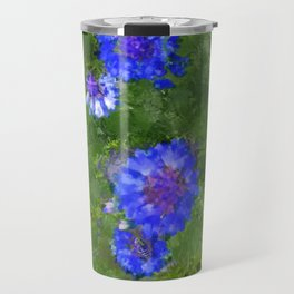 Summer Green Meadow and Blue Flowers Travel Mug
