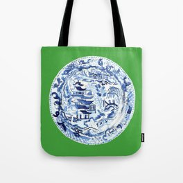 CHINOISERIE PLATE ON EMERALD Tote Bag