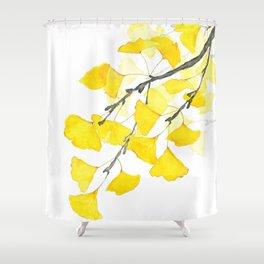 Golden Ginkgo Leaves Shower Curtain