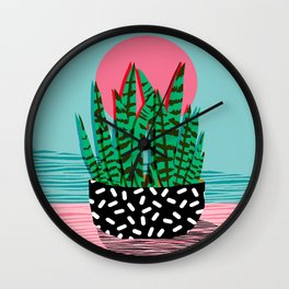 Edgy - wacka potted indoor house plant hipster retro throwback minimal 1980s 80s neon pop art Wall Clock
