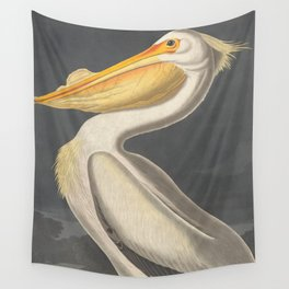 Vintage Illustration of a White Pelican (1863) Wall Tapestry