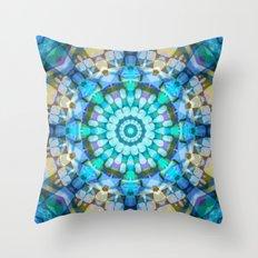 Into the Blue Kaleidoscope Throw Pillow