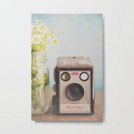 A vintage Kodak camera & a jar full of daisies. Metal Print